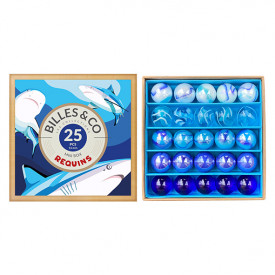 Box of 25 marbles - Sharks Blue Billes and Co