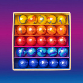 Box of 25 marbles - Sunset Multicolour Billes and Co
