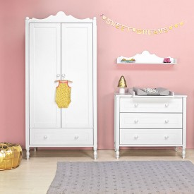 Belle 2 Doors Wardrobe White Bopita