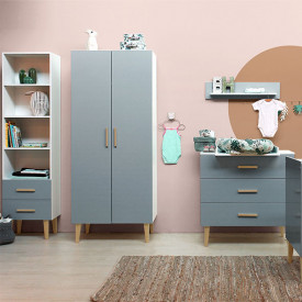 2 doors Wardrobe Emma - White/grey Multicolour Bopita