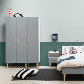3 doors Wardrobe Emma - White/grey Multicolour Bopita