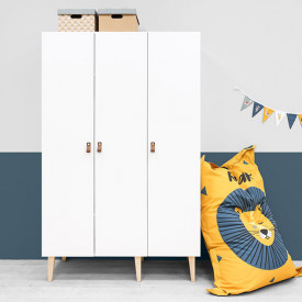 3 doors Wardrobe Indy - White/natural White Bopita