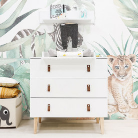 3 drawers dresser Indy - White/natural White Bopita