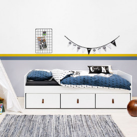 Day Bed 90x200cm Indy with drawers - White/natural White Bopita