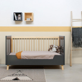 Convertible cot bed 70x140cm Kyan Grey Bopita