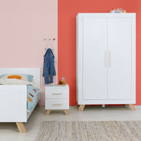 2 doors Wardrobe Lisa - White/natural White Bopita