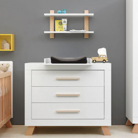 3 drawers dresser Lisa - White/natural White Bopita