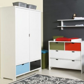 Wardrobe 2 Doors Mix & Match - White White Bopita