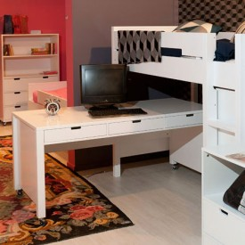 XL Desk on Wheels Mix & Match White White Bopita