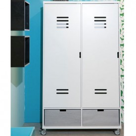 Wardrobe 2 Doors Locker Mix & Match - White White Bopita