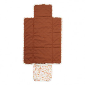 Travel Changing Mat - Quilted - Caramel Leaves White Cam Cam Copenhagen