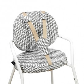 Tibu High Chair Backrest & sitting cushions - Diamond - Black & White White Charlie Crane