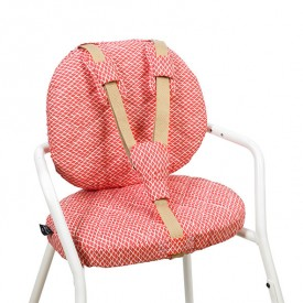 Tibu High Chair Backrest & sitting cushions - Diamond - Red Red Charlie Crane