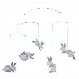 Circular Bunnies Mobile Grey Flensted