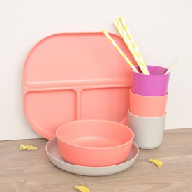3 compartments plate Bambino - Coral Pink Ekobo