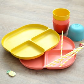 3 compartments plate Bambino - Yellow   Yellow Ekobo