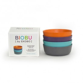 Pack of 4 bowls - Prune  Multicolour Ekobo