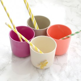 Pack of 4 cups - Coral  Multicolour Ekobo