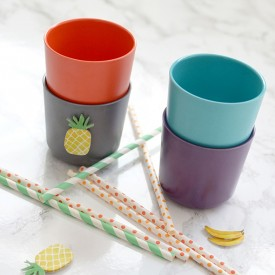 Pack of 4 cups - Prune  Multicolour Ekobo