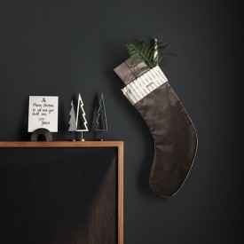 Christmas Velvet Stocking - Brown Brown Ferm Living Kids