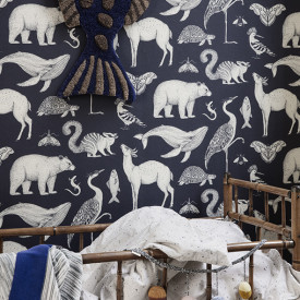 Katie Scott Wallpaper - Animals - Dark Blue Blue Ferm Living Kids