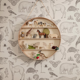 Katie Scott Wallpaper - Animals - Off-White White Ferm Living Kids
