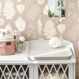 Katie Scott Wallpaper - Shells - Dusty Pink Pink Ferm Living Kids