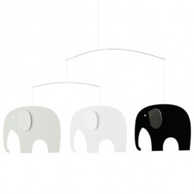 Elephant Party Mobile - Black / Grey Multicolour Flensted