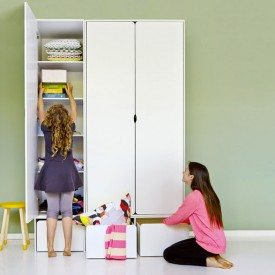 High Wardrobe CABBY - 1 Door White Flexa