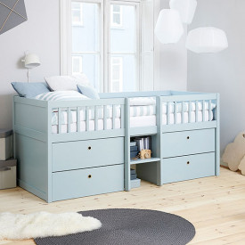 Mid-High Compact Bed Freja - Aqua Blue Flexa