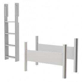 Conversion kit high bed - Straight ladder - White White Flexa