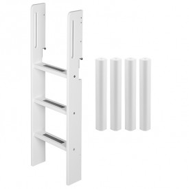 Conversion kit mid-high bed - Straight ladder - White White Flexa