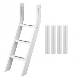 Conversion kit mid-high bed - Slanting ladder - White White Flexa