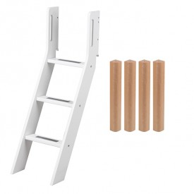 Conversion kit mid-high bed - Slanting ladder - White / Birch White Flexa