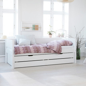White Trundle Bed 90x200cm w/ drawers - White White Flexa