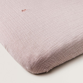 Muslin Fitted Sheet 60x120 - Calamine Pink Garbo and Friends