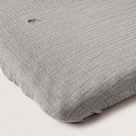 Muslin Fitted Sheet 60x120 - Thyme  Grey Garbo and Friends