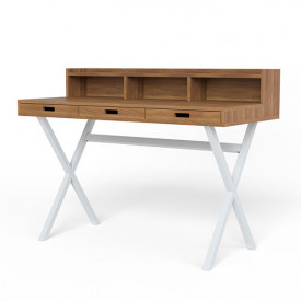 Hyppolite Desk - Walnut & White White Hartô