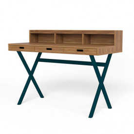Hyppolite Desk - Walnut & Petrol  Blue Hartô