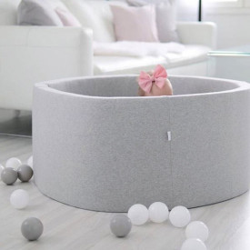 Round Ball Pit 90 x 40 cm - Light Grey Grey Kidkii