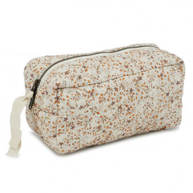 Quilted Toiletry Bag - Flower Field Orange Konges Sløjd