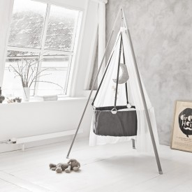 Cradle incl. Mattress & Hook - Grey Grey Leander