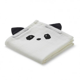 Set of 2 Muslin Cloths Panda - Crème White Liewood