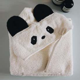 Kids Bath Poncho Panda - 2-4 years - Crème White Liewood
