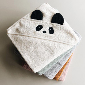 Baby Towel Hooded Panda - Crème White Liewood