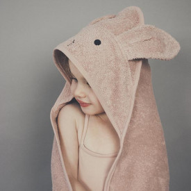 Kids Towel Hooded Rabbit - Rose Pink Liewood