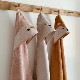 Kids Towel Hooded Fox - Mustard Yellow Liewood