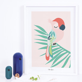 Art Print Tropical Parrot Pink (30x40cm) Pink Lilipinso
