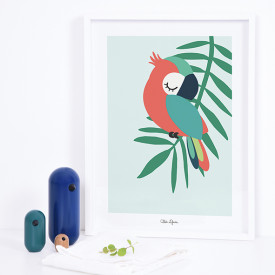 Art Print Tropical Parrot Green (30x40cm) Green Lilipinso