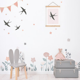 Wallstickers Flowers and Swallows (A3) Multicolour Lilipinso